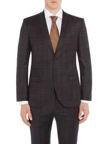 WP Skinny Fit Peak Lapel Check Print Jacket