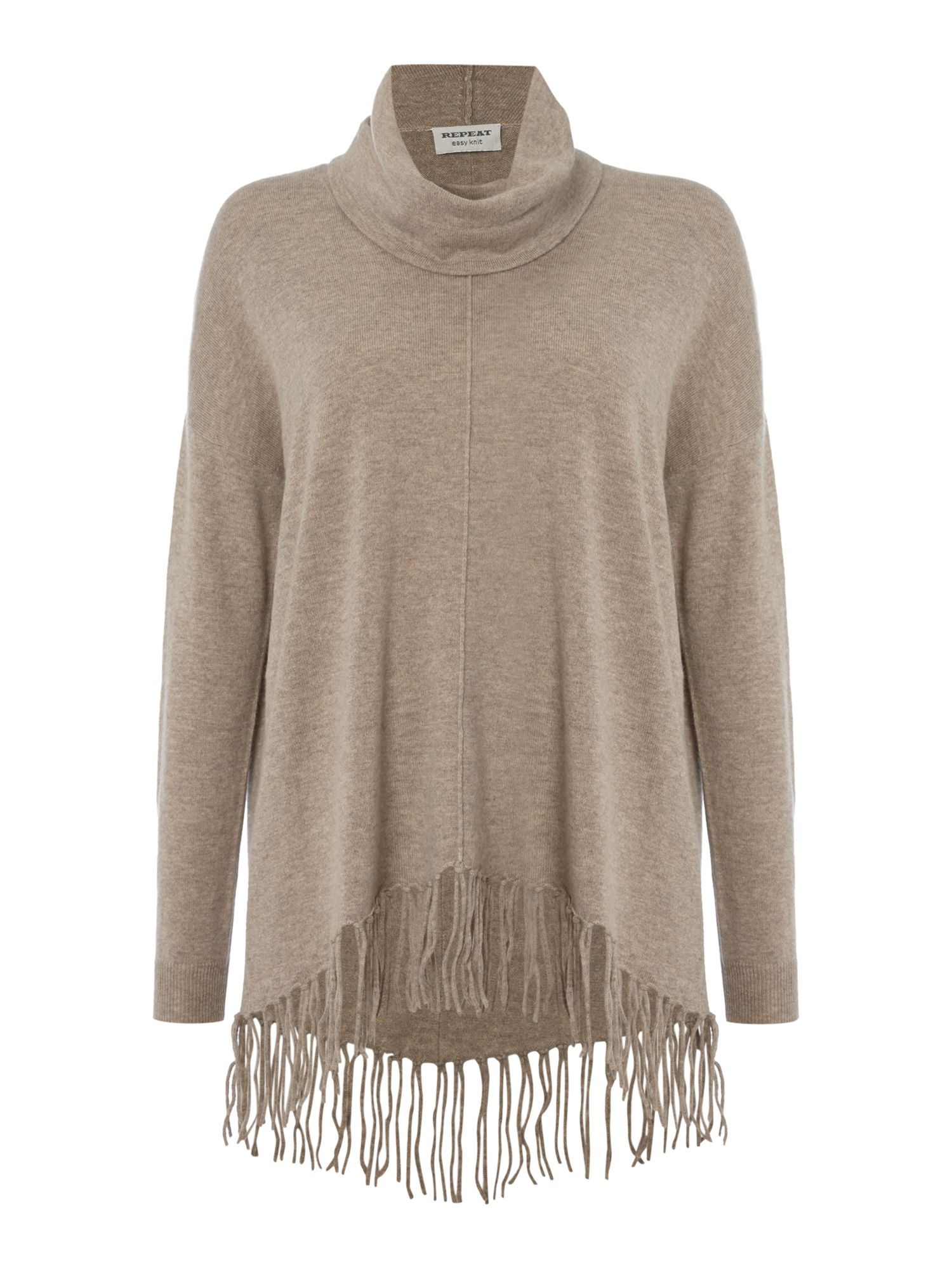 Repeat Cashmere Repeat Cashmere Roll neck fringed oversized jumper, Sand