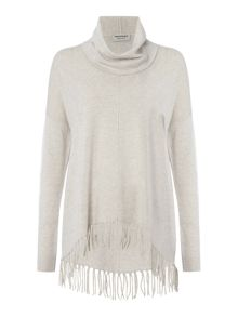 Repeat Cashmere Roll neck fringed oversized jumper