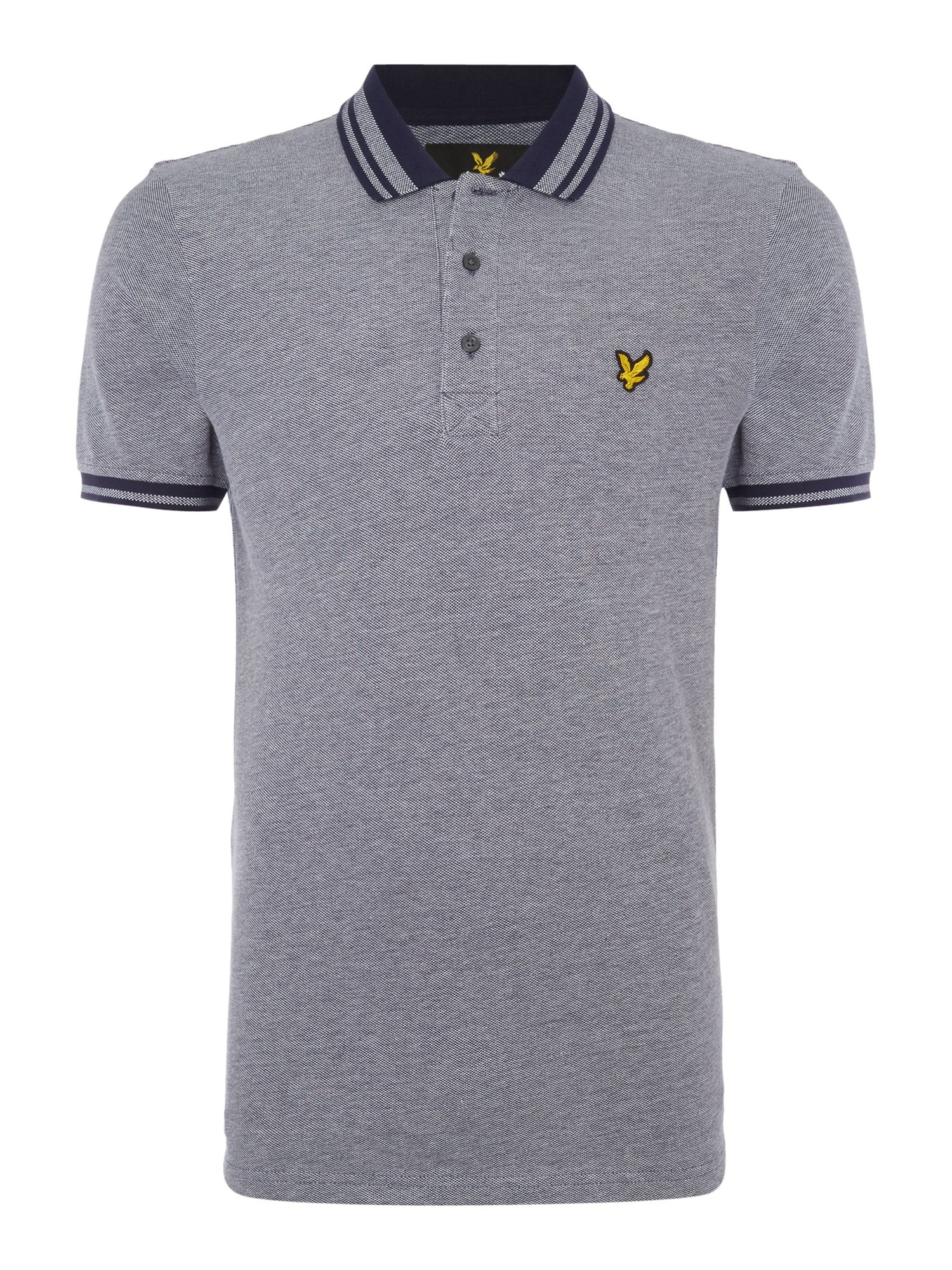 Men's Lyle and Scott Short Sleeve Oxford Tipped Collar Polo Shirt, Blue