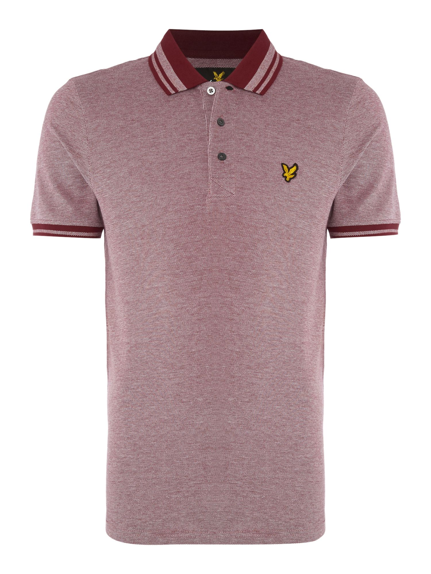 Men's Lyle and Scott Short Sleeve Oxford Tipped Collar Polo Shirt, Claret