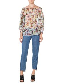 Sportmax Code Floral print silk sheer blouse with bell sleeves