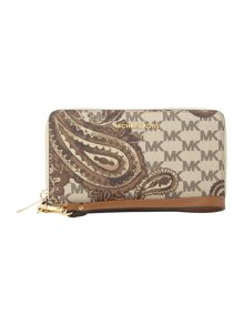 Michael Kors Paisley tan multi fuction zip around purse