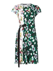 Sportmax Code Shortsleeve floral shift dress in contrast colour