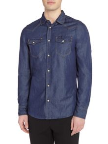 Diesel Regular fit blue denim long sleeve shirt