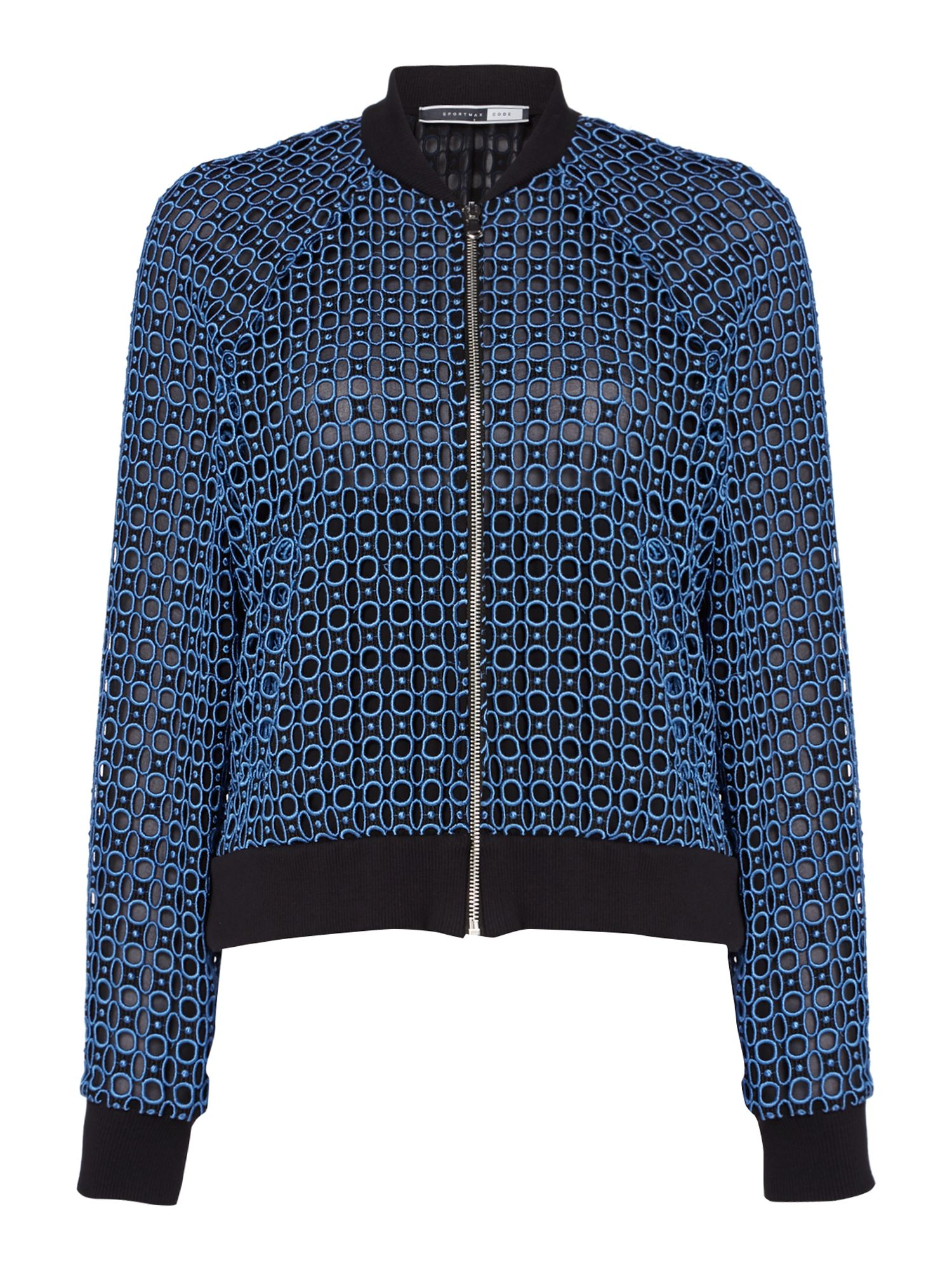 Sportmax Code Crochet bomber jacket with ribbed cuff, Black