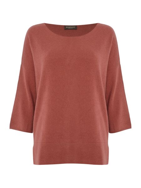 Repeat Cashmere Wide neck half sleeve jumper