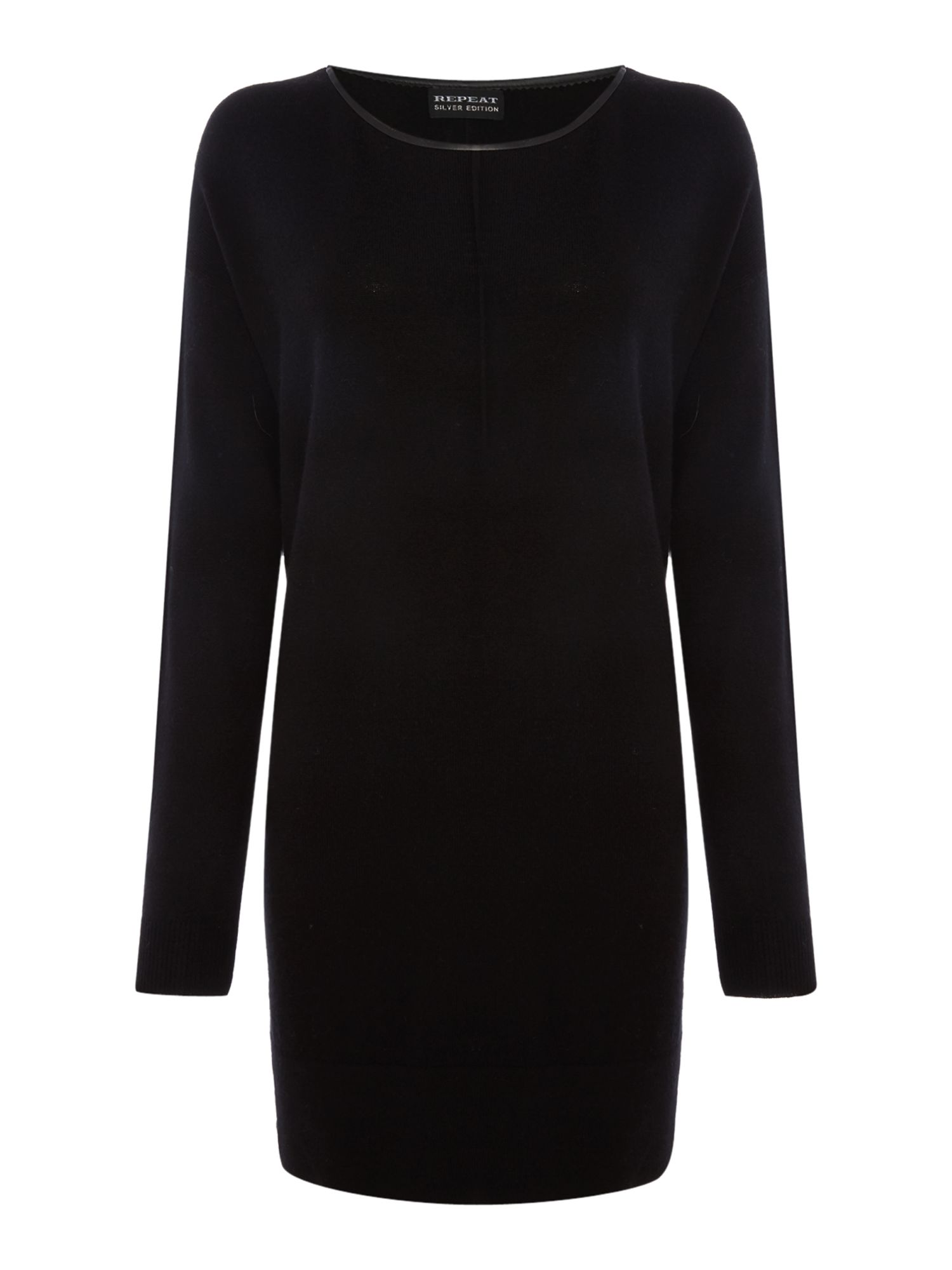 Repeat Cashmere Repeat Cashmere Leather trim dress, Black
