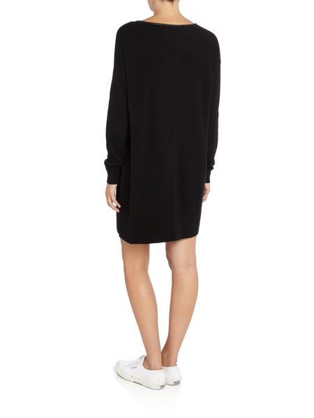 Repeat Cashmere Leather trim dress