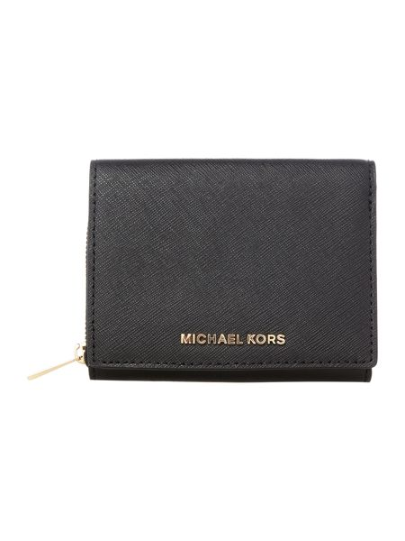 Michael Kors Jetset travel black bi fold zip around purse
