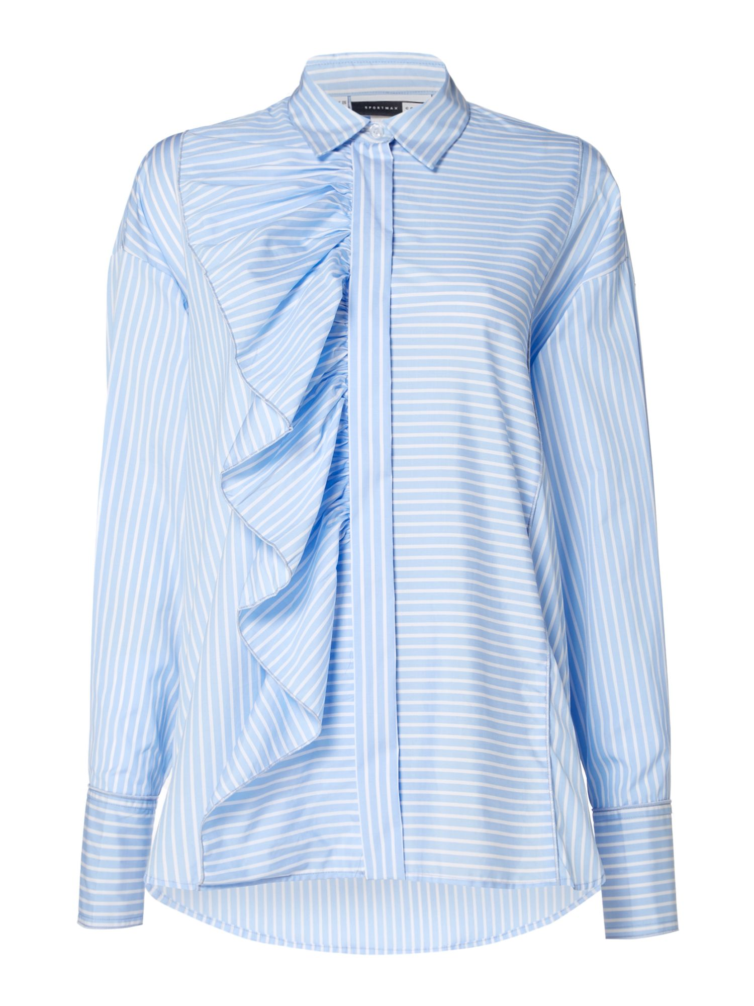 Sportmax Code Longsleeve striped shirt with front frill detail, Light Blue