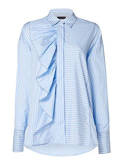 Longsleeve striped shirt with front frill detail