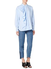 Sportmax Code Longsleeve striped shirt with front frill detail