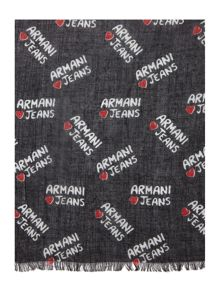 Armani Jeans All over heart logo scarf