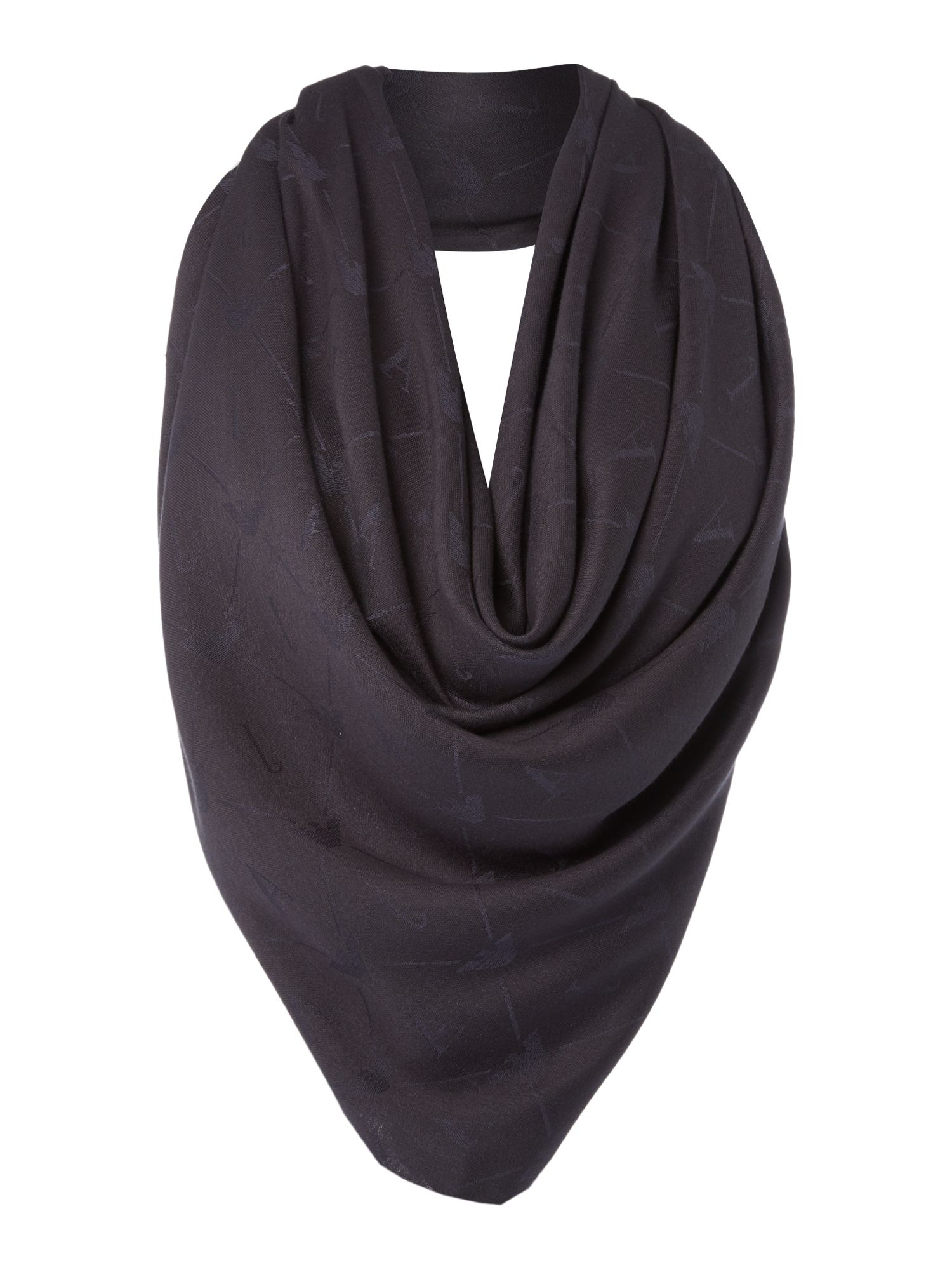 Armani Jeans Tone on tone square scarf Navy