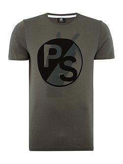 Slim fit peace sign logo print t-shirt