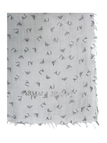 Armani Jeans All over logo flocked scarf
