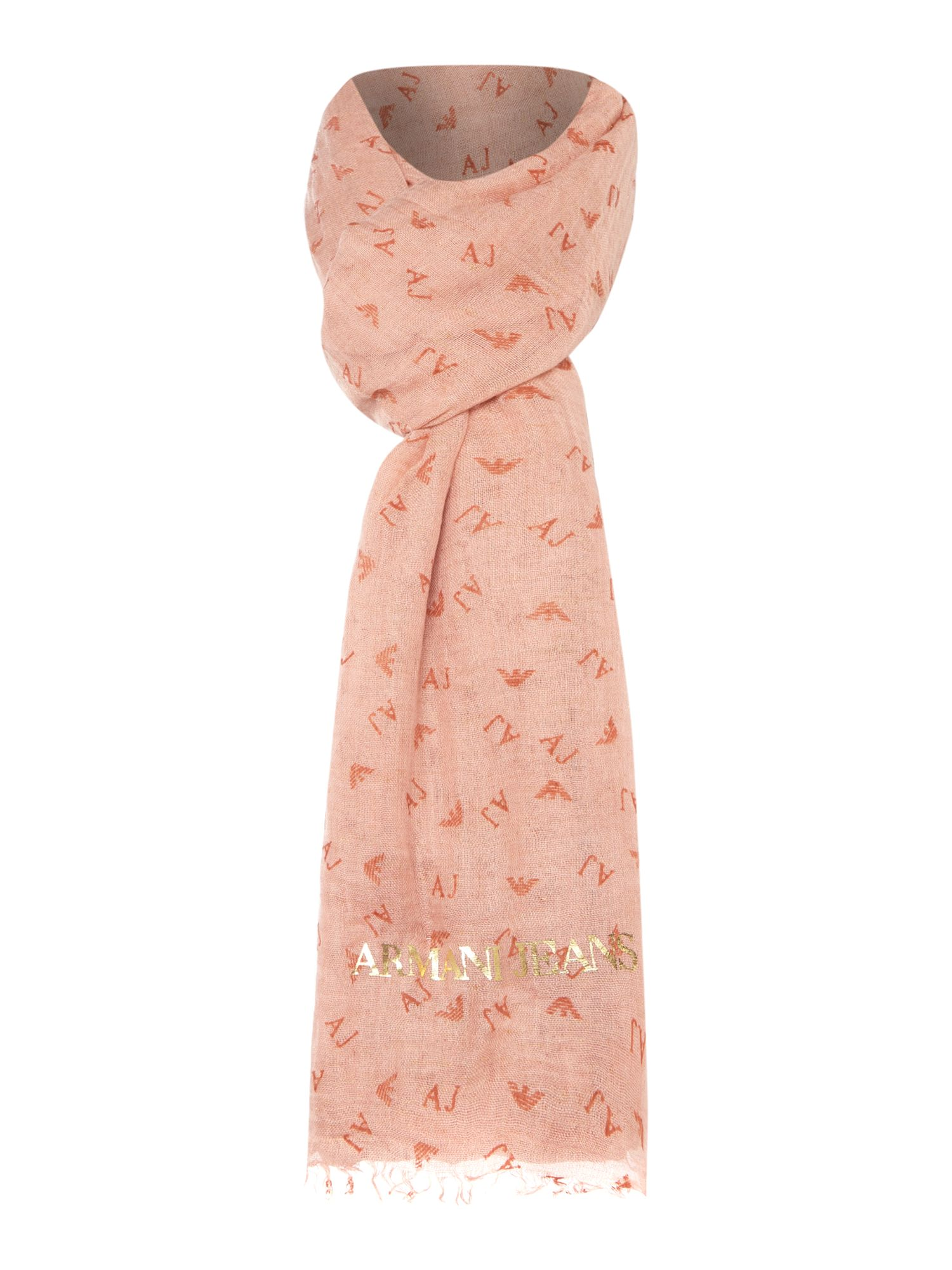 Armani Jeans All over logo flocked scarf Light Pink