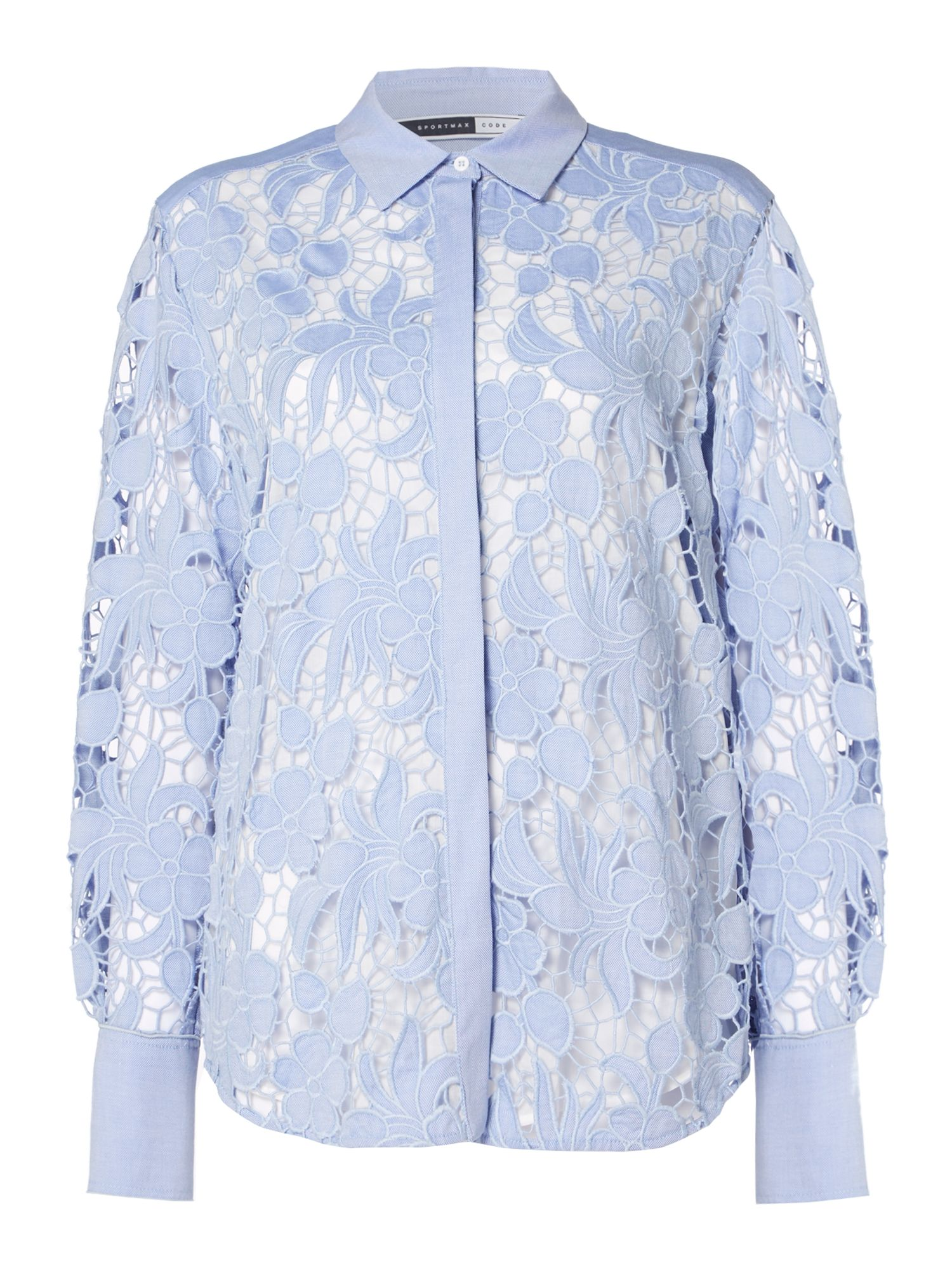 Sportmax Code Longsleeve lace shirt with floral decoration, Light Blue