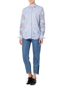 Sportmax Code Longsleeve lace shirt with floral decoration