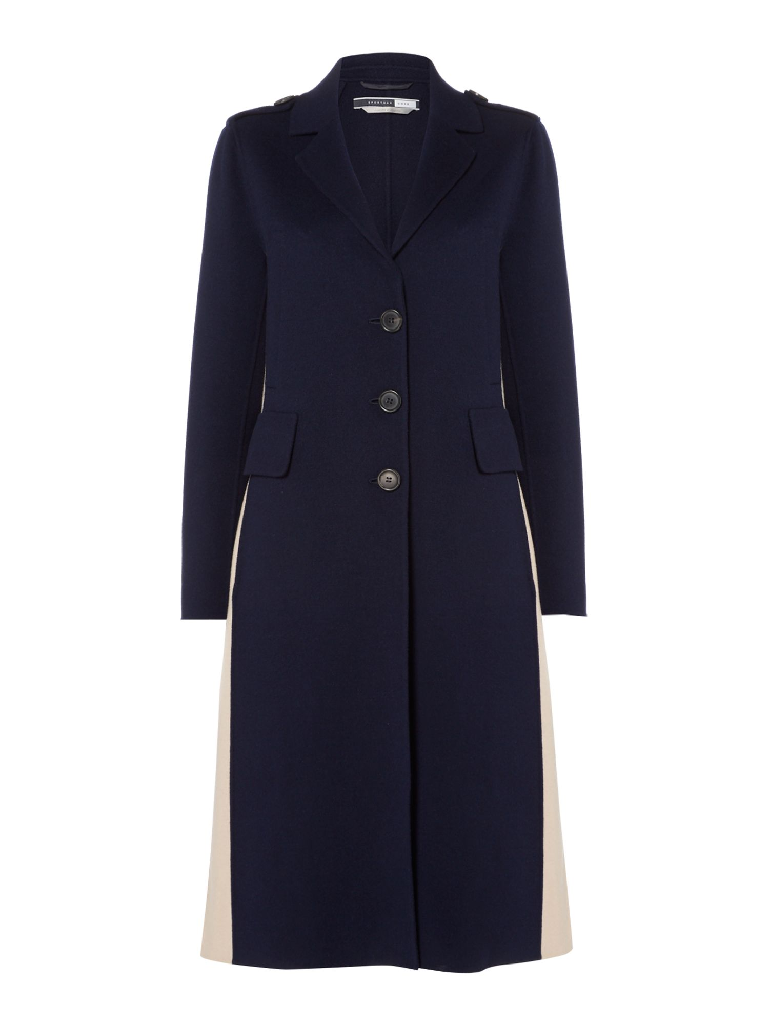 Sportmax Code Double faced wool coat with side split, Blue