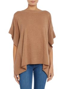 Repeat Cashmere Ribbed edge poncho