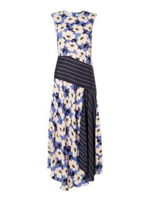 Sportmax Code Maxi dress with pinstripe belt and floral print