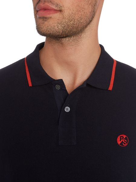 PS By Paul Smith Slim fit PS logo tipped polo shirt