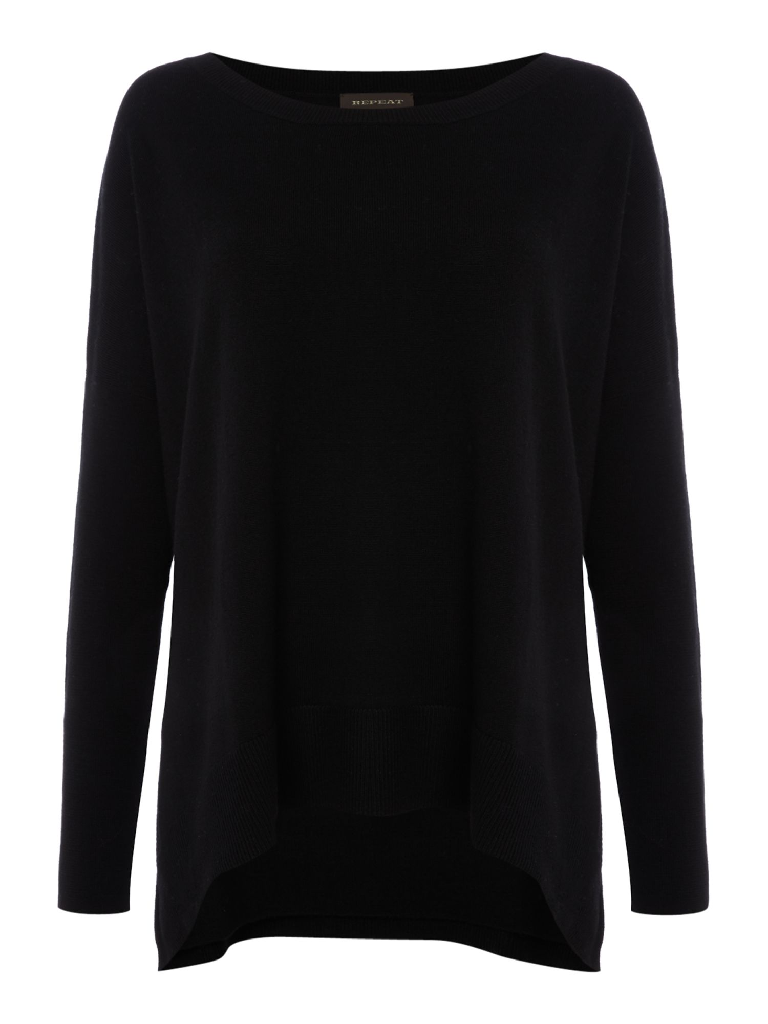 Repeat Cashmere Repeat Cashmere Round neck swing jumper, Black