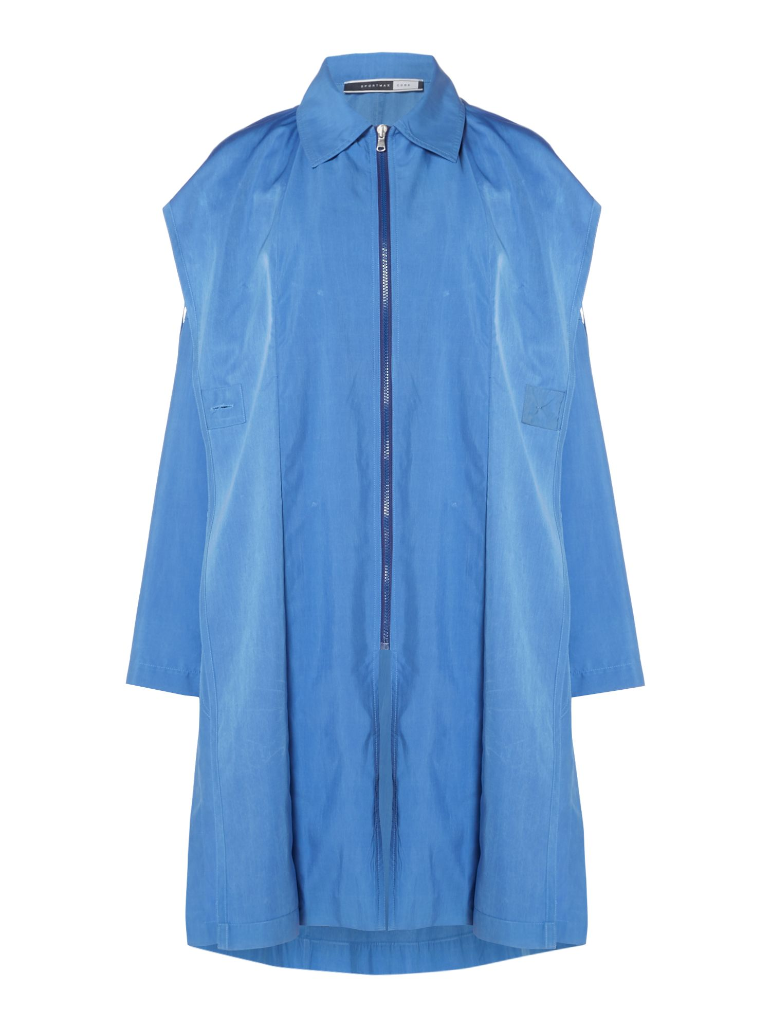 Sportmax Code Longsleeve lightweight trench coat, Blue