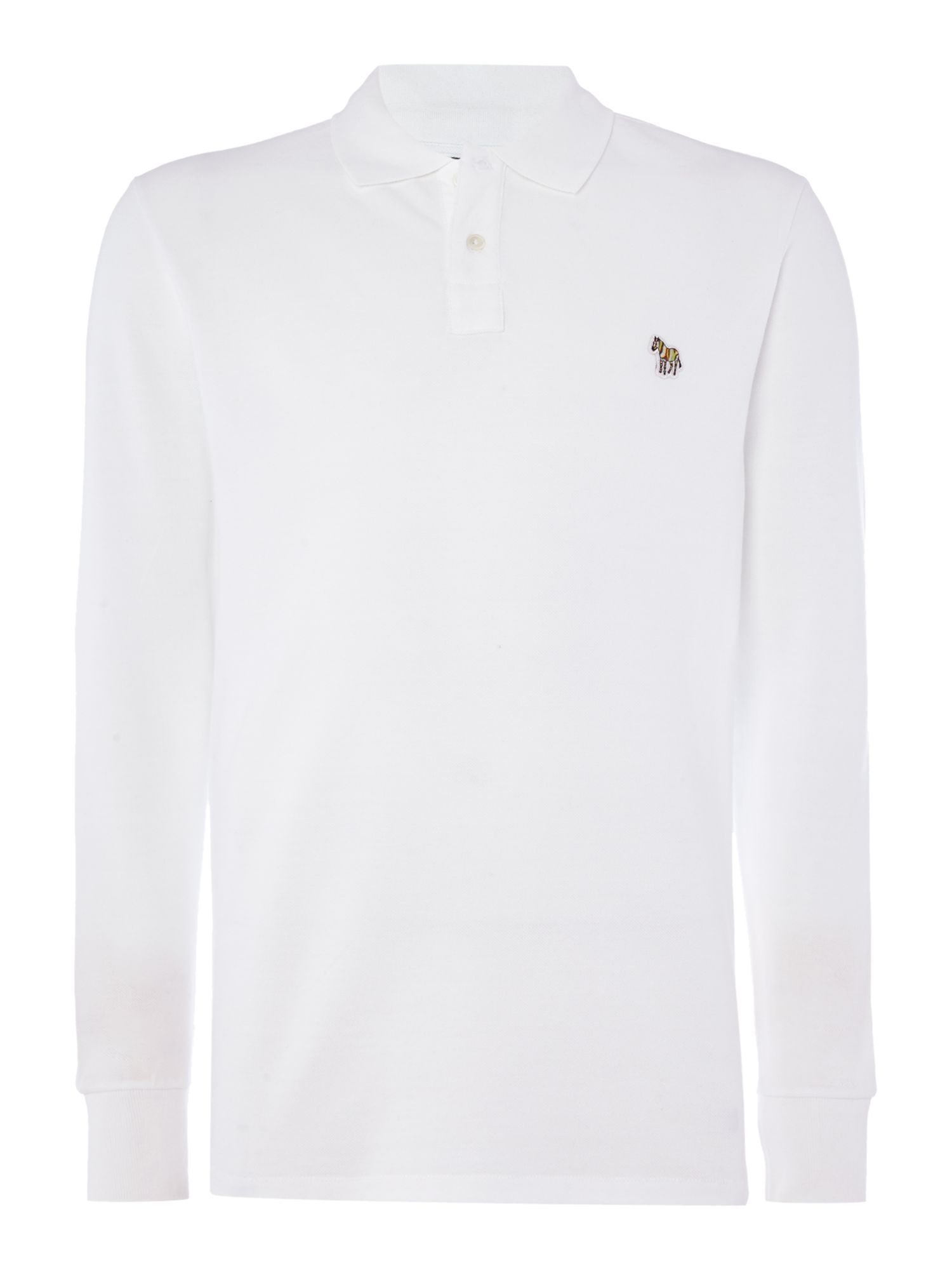Men's PS By Paul Smith Regular fit zebra logo long-sleeve polo shirt, White