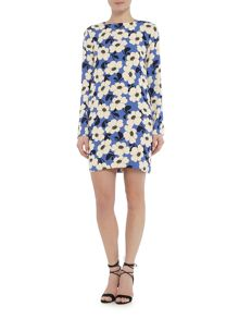 Sportmax Code Longsleeve floral shift dress with round enck