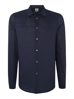 Tailored fit long-sleeve geo printed shirt
