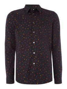 PS By Paul Smith Tailored fit long-sleeve paisley printed shirt