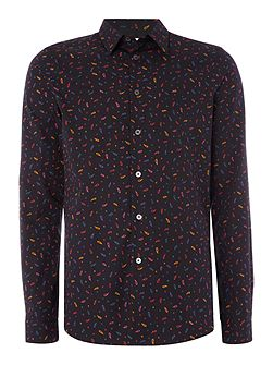 Tailored fit long-sleeve paisley printed shirt