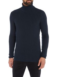 Lindbergh Cotton rib roll neck jumper