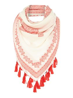 AMEDEO geo print scarf with pom pom hem