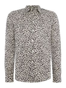 PS By Paul Smith Tailored fit long-sleeve leopard printed shirt