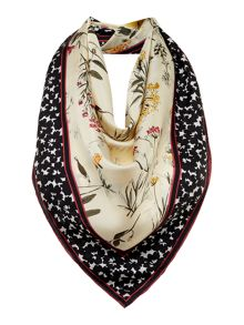 Max Mara NUCCIA silk scarf with floral print and boarder
