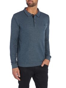 Lindbergh Long sleeve contrast pique polo