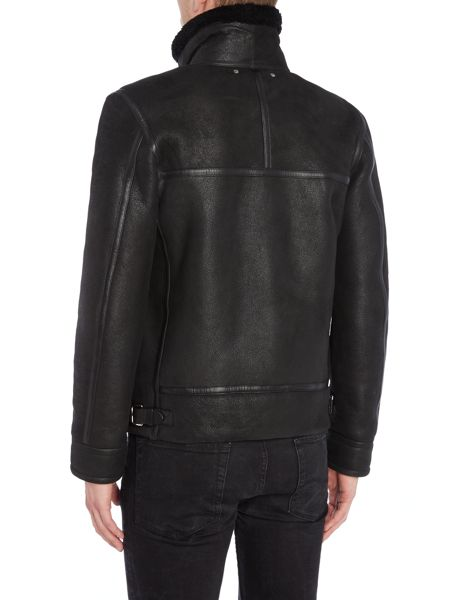 PS By Paul Smith Shearling sheepskin leather flight jacket