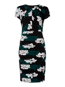 Linea Shadow floral print illusion dress