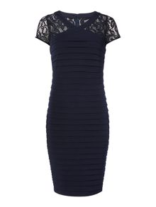 Linea Cross over lace panel illusion dress