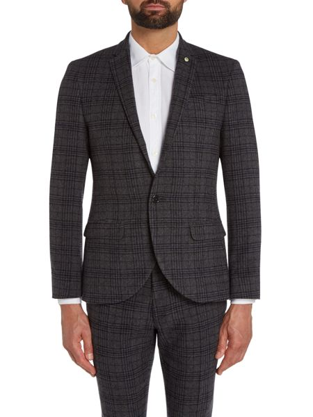 Noose and Monkey London Check Skinny Fit Peak Lapel Jacket