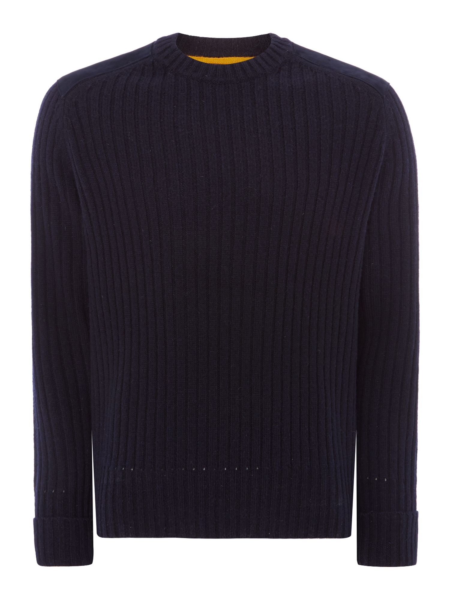 Men's Vintage Style Sweaters – 1920s to 1960s Mens PS By Paul Smith Suede shoulder detail knitted jumper Navy £119.00 AT vintagedancer.com
