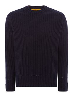 Suede shoulder detail knitted jumper