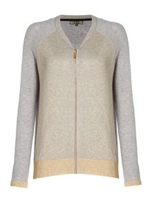 Biba Zip detail metallic cardigan