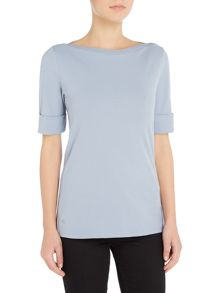Lauren Ralph Lauren Aliza elbow sleeve boatneck top
