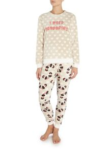 Chelsea Peers Panda fluffy long sleeve pyjama set