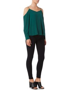 Bardot Long Sleeved Cold Shoulder Wide Sleeves Top